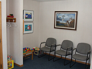 Patient waiting area with kid's toys